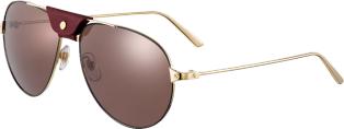 Santos de Cartier sunglasses Smooth champagne golden and black lacquer-finish metal, burgundy lenses.