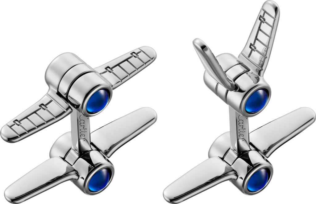 Santos de Cartier biplane cufflinksSterling silver, palladium finish and synthetic spinel