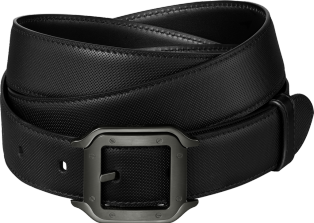 Santos de Cartier belt Black cowhide, black PVD-finish buckle
