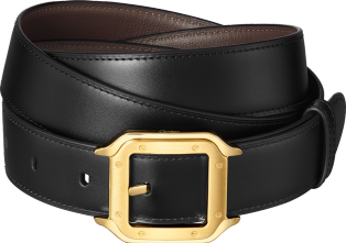 Santos de Cartier belt Black cowhide, golden-finish buckle