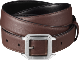 Santos de Cartier belt Black cowhide, palladium-finish buckle