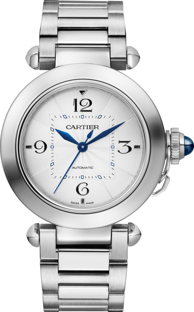 Pasha de Cartier watch35 mm, automatic movement, steel, interchangeable metal and leather straps