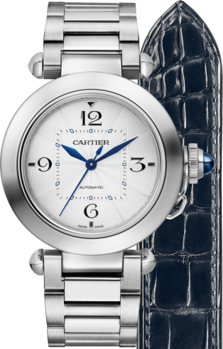 Pasha de Cartier watch 35 mm, automatic movement, steel, interchangeable metal and leather straps