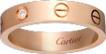 <span class='lovefont'>A </span> wedding band, 1 diamond Rose gold, diamond