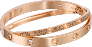 <span class='lovefont'>A </span> bracelet, brown diamonds and 6 diamonds Pink gold, brown diamonds, diamonds